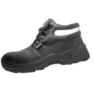 Black Leather ankle boot with a steel toe cap and a dual density PU sole
