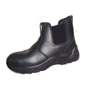 Black Chelsea Leather Boot Steel Toecap