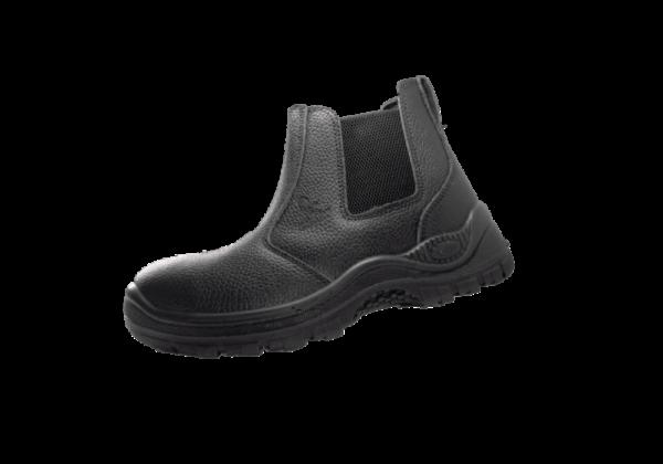 Black Chelsea Leather Boot Steel Toecap