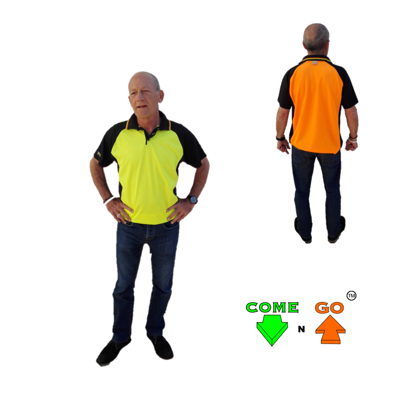 Golf T-Shirt with moisture management fabric. Navy sleeves, collar and sides. Hi-viz lime green front, hi-viz orange at the back.