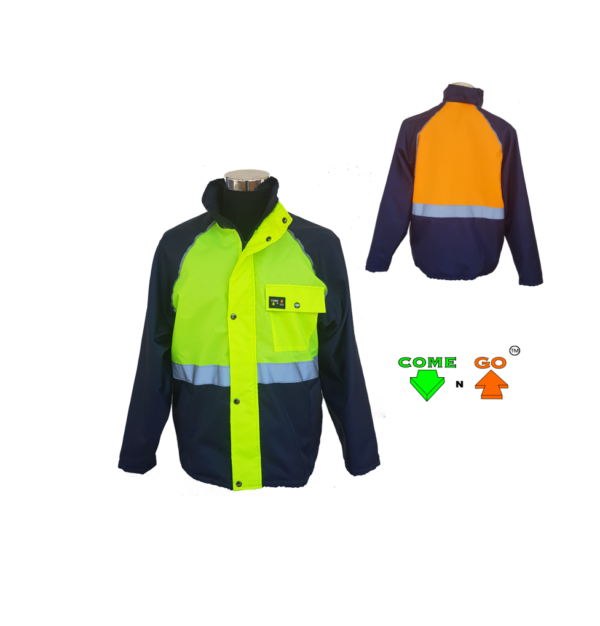 Three colour dri-mac type jacket. 80g fleece lining with zip. Raglan sleeve and reflective oxford fabric. Water resistant. Navy body and sleeves. Hi-viz lime green front, hi-viz orange at the back. Reflective strip around the middle and raglan sleeves.Oxford material and 80g fleece. Directional High Visibility Directional Awareness By adopting this new Directional signalling system, where ACID/GREEN = COME (facing) and ORANGE/RED = GO (unsighted/turned away). Not only do you see the person, but you know that the person wearing acid / green on their chest may be able to see you. Security - Highly visible people are easy to spot in unauthorised areas. Accidents are also minimised, and people are more cautious and aware. Productivity - Increased productivity, as all employers are very aware of every movement or lack of movement thereof. Departmental Supervision - By giving departments differing peripheral coloured Come n GO garments, one can see at a glance who is in the correct department and who is wondering around in other departments. Savings - Uniform and winter jacket in one.