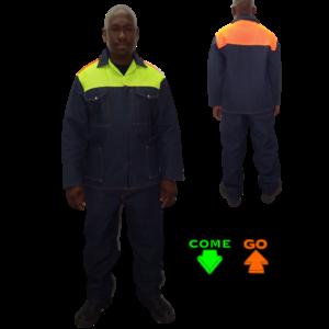 100% Cotton Denim Hi-viz lime green and orange back