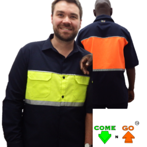 Lounge collar shirt with two chest pockets, with reflective tape on top and bottom of chest. Navy sleeves. Hi-viz lime green front, hi-viz orange at the back. 65/35 Poly/Cotton material.