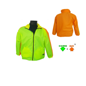 Two colour dri-mac type jacket. 80g fleece lining with zip. Water resistant. Hi-viz lime green front, hi-viz orange at the back. Oxford material.