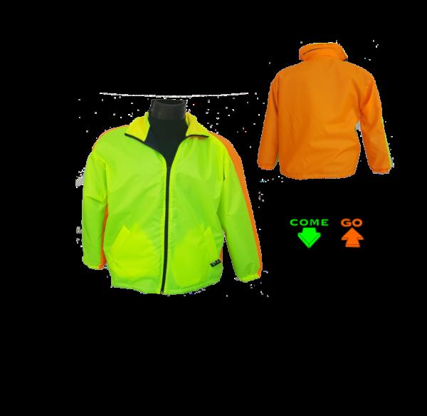 Two colour dri-mac type jacket. 80g fleece lining with zip. Water resistant. Hi-viz lime green front, hi-viz orange at the back. Oxford material.