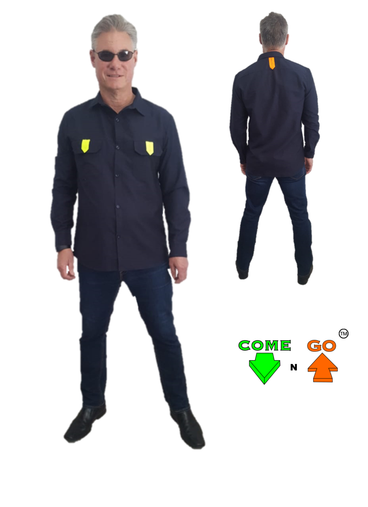 Lounge collar shirt with two chest pockets with reflective material on the pockets Navy body and long sleeves 65/35 Poly/Cotton material