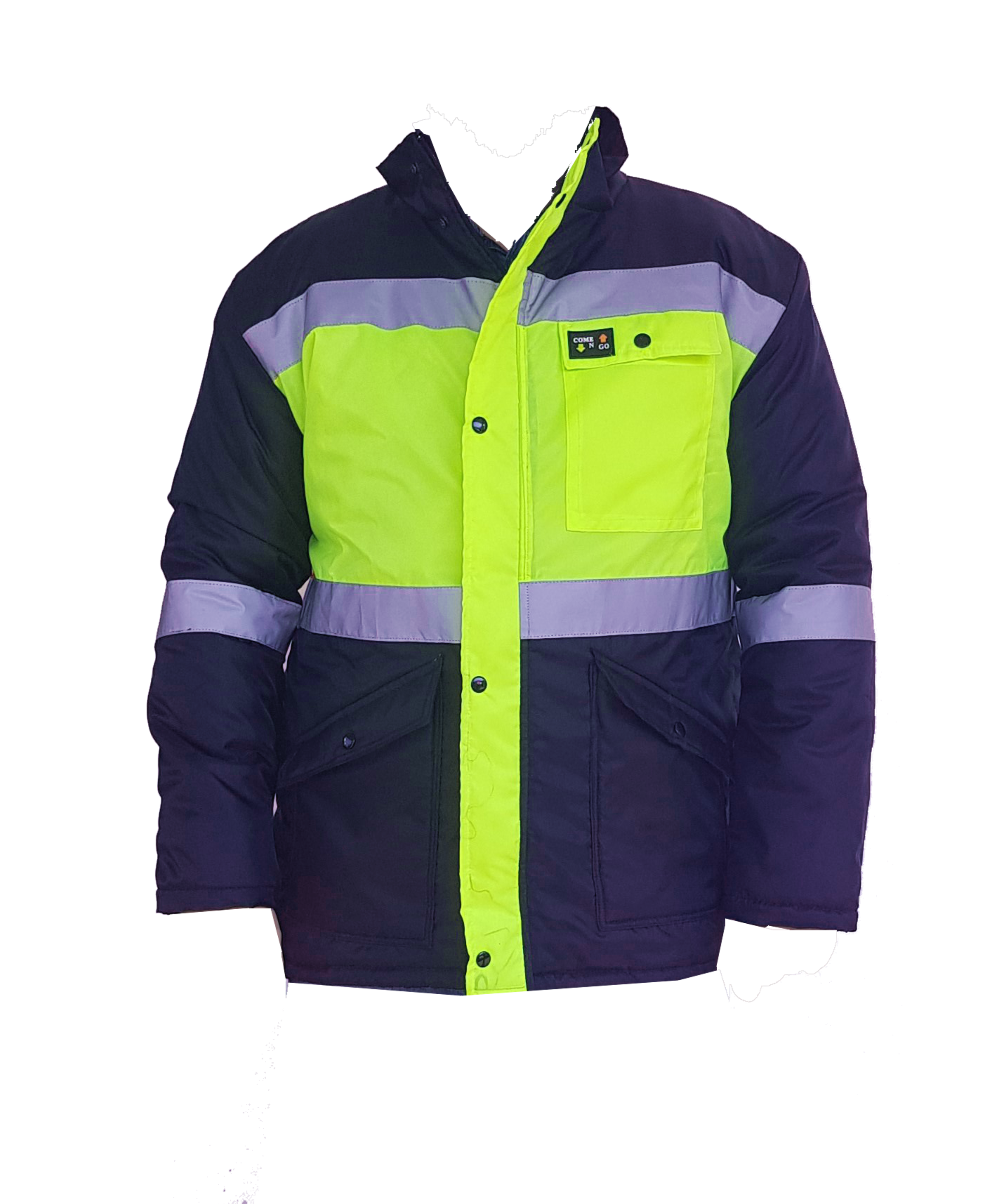 Winter parka jacket, navy with reflective around the middle, arms and chest. 170g fleece lining and 180gm batting. Press studs and zip. Oxford fabric. Water repellent. Navy body and sleeves. Hi-viz lime green front, hi-viz orange at the back.
