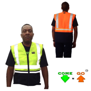 Reflective waistcoat with ID pocket and utility pockets on the front and back. Comes with standard reflective tape. Hi-viz lime green front and hi-viz orange at the back. Navy from the middle down