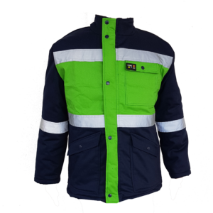 Acid & Flame retardant winter parka jacket, navy with reflective tape around the middle, arms and chest. Press studs and zip. Acid & Flame retardant D59 100% Cotton material, 125g fleece and 180gm batting.