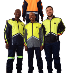 Mac type jacket - water repellent. Available in grey. Other colors on request. Hi-viz lime green front and hi-viz orange at the back. Reflective tape and zip off sleeves. Micro active material.