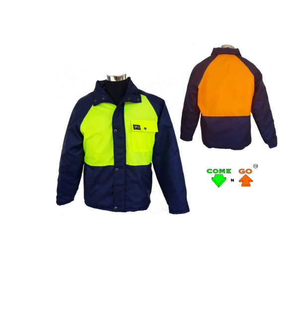 Winter parka jacket, navy sleeves, middle and storm flap. 80g fleece lining and 120gm batting. Press studs and zip. Oxford fabric. Water repellent. Identification: Black body and sleeves. Hi-viz lime green front, hi-viz orange at the back. Usable down to -20 degrees Celsius Directional High Visibility Directional Awareness By adopting this new Directional signalling system, where ACID/GREEN = COME (facing) and ORANGE/RED = GO (unsighted/turned away). Not only do you see the person, but you know that the person wearing acid / green on their chest may be able to see you. Security - Highly visible people are easy to spot in unauthorised areas. Accidents are also minimised, and people are more cautious and aware. Productivity - Increased productivity, as all employers are very aware of every movement or lack of movement thereof. Departmental Supervision - By giving departments differing peripheral coloured Come n GO garments, one can see at a glance who is in the correct department and who is wondering around in other departments. Savings - Uniform, high visibility vest and winter jacket in one.
