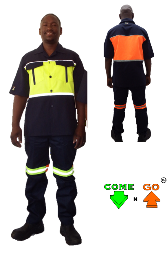 Glad collar shirt with two chest pockets, with reflective tape on top and bottom of chest. Navy sleeves, bottom half and pocket flaps. Hi-viz lime green front, hi-viz orange at the back. 65/35 Poly/Cotton material.