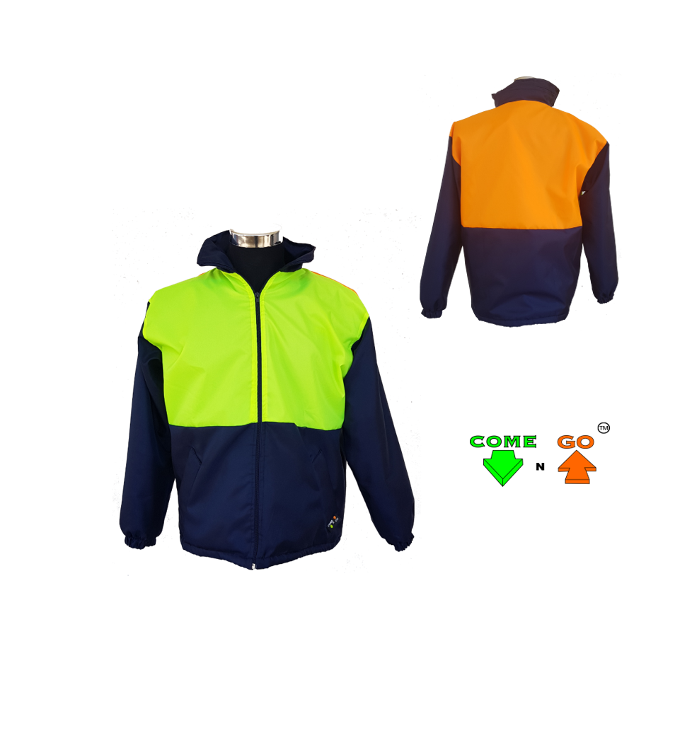 Three colour dri-mac type jacket. 80g fleece lining with zip. Reflective oxford fabric. Water resistant. Navy body and sleeves. Hi-viz lime green front, hi-viz orange at the back. Oxford material and 80g fleece.