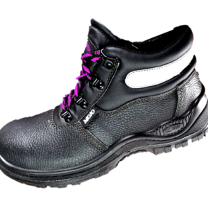 Black Leather ankle boot with a steel toe cap and a dual density PU sole. Pink shoe laces and reflective tab.