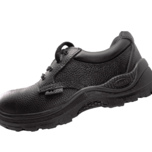 Black Leather Shoe with a steel toe cap and duel density sole