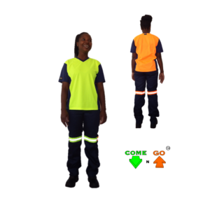 V Neck T-Shirt with moisture management fabric. Navy sleeves, collar and sides. Hi-viz lime green front, hi-viz orange at the back.