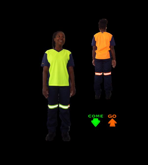 V Neck T-Shirt with moisture management fabric. Navy sleeves, collar and sides. Hi-viz lime green front, hi-viz orange at the back.