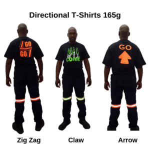 165g Crew Neck T-Shirt. Black with 5 different designs. Hi-viz lime green front, hi-viz orange at the back.