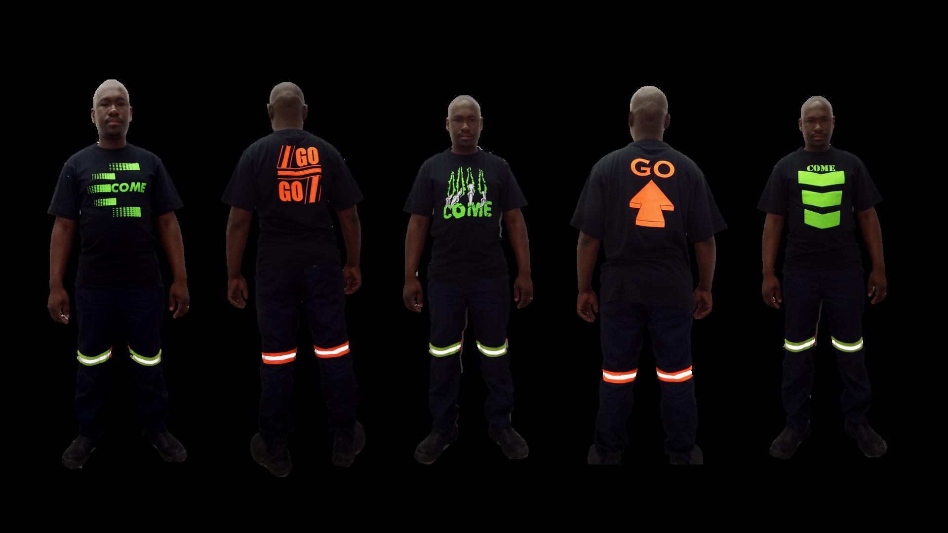 165g Crew Neck T-Shirt. Black with 5 different designs. Hi-viz lime green front, hi-viz orange at the back.